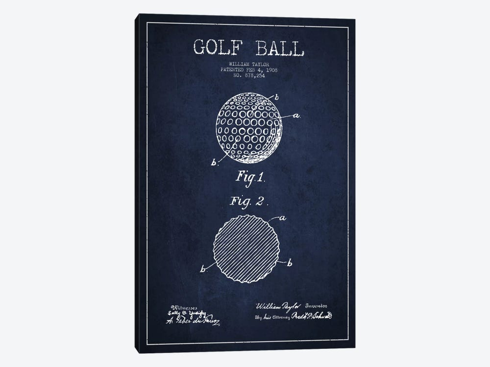 Golf Ball Navy Blue Patent Blueprint by Aged Pixel 1-piece Canvas Wall Art