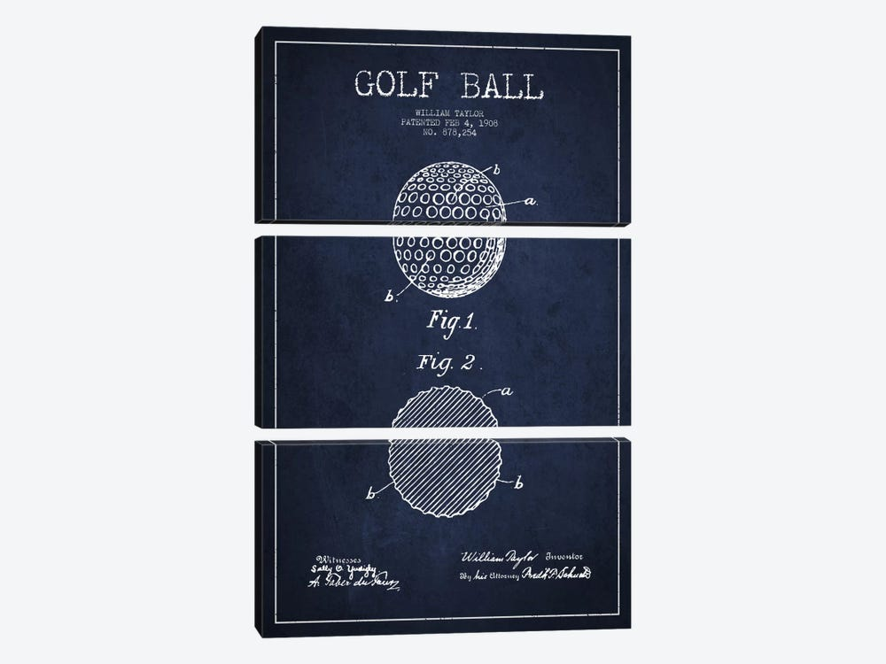 Golf Ball Navy Blue Patent Blueprint by Aged Pixel 3-piece Canvas Wall Art