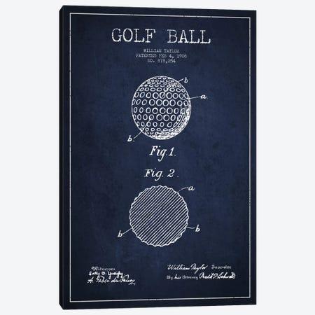 Golf Ball Navy Blue Patent Blueprint Canvas Print #ADP2187} by Aged Pixel Canvas Art