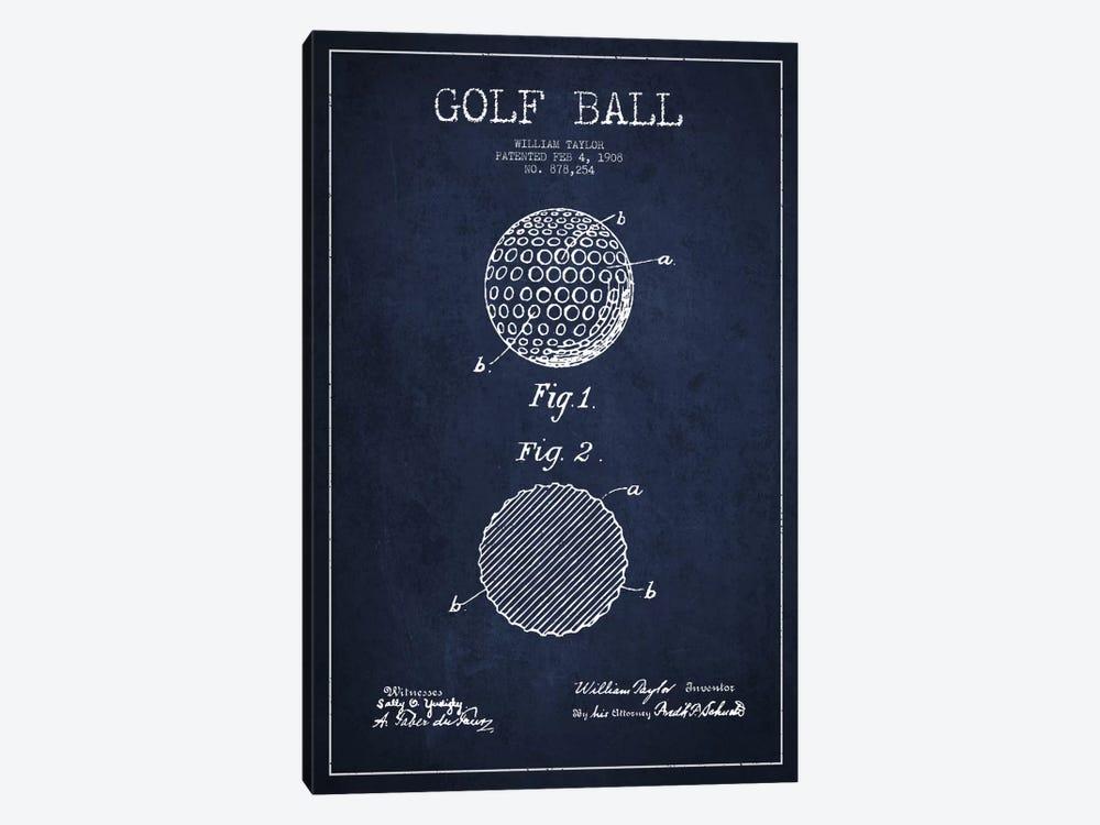 Golf Ball Navy Blue Patent Blueprint by Aged Pixel 1-piece Canvas Wall Art