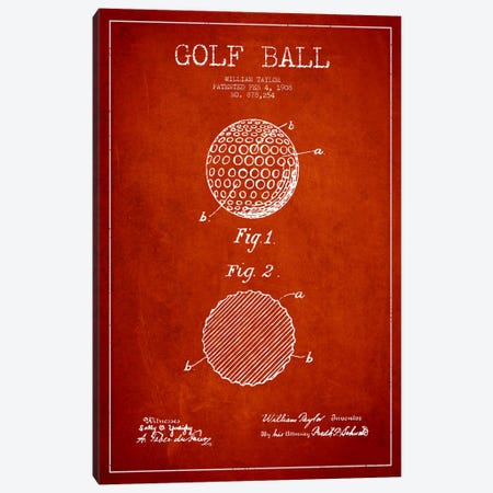 Golf Ball Red Patent Blueprint Canvas Print #ADP2188} by Aged Pixel Canvas Art Print