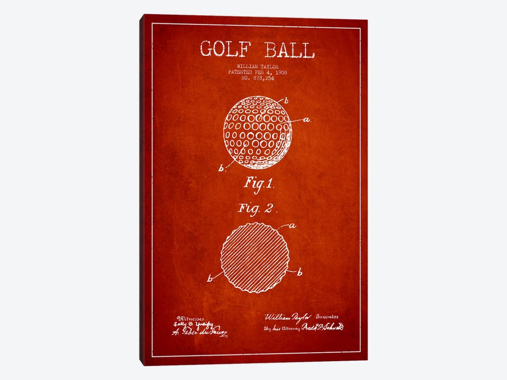 Golf Ball Red Patent Blueprint 1-piece Canvas Print