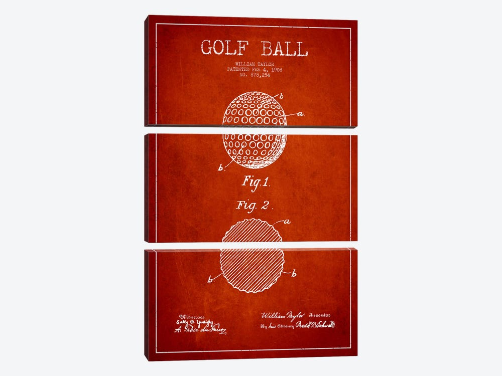 Golf Ball Red Patent Blueprint by Aged Pixel 3-piece Art Print