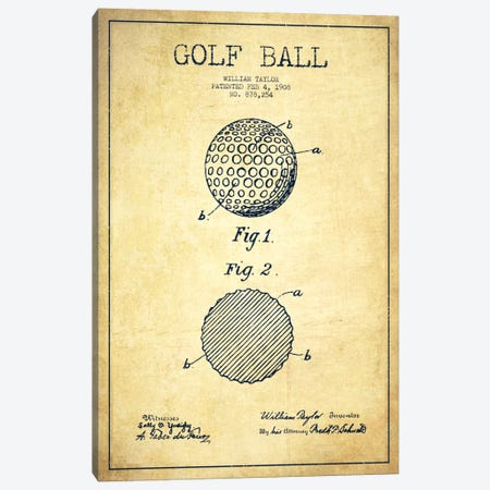 Golf Ball Vintage Patent Blueprint Canvas Print #ADP2189} by Aged Pixel Canvas Print