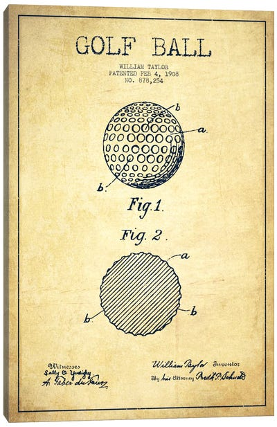 Golf Ball Vintage Patent Blueprint Canvas Art Print