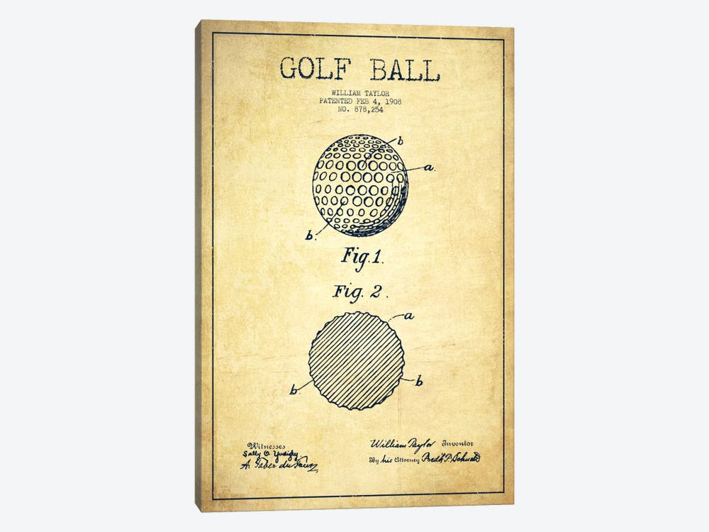 Golf Ball Vintage Patent Blueprint 1-piece Canvas Artwork
