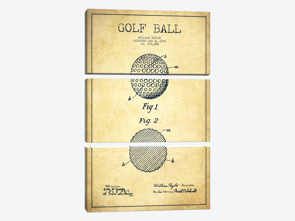 Golf Ball Vintage Patent Blueprint by Aged Pixel 3-piece Canvas Artwork