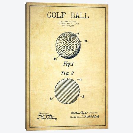 Golf Ball Vintage Patent Blueprint Canvas Print #ADP2189} by Aged Pixel Canvas Print