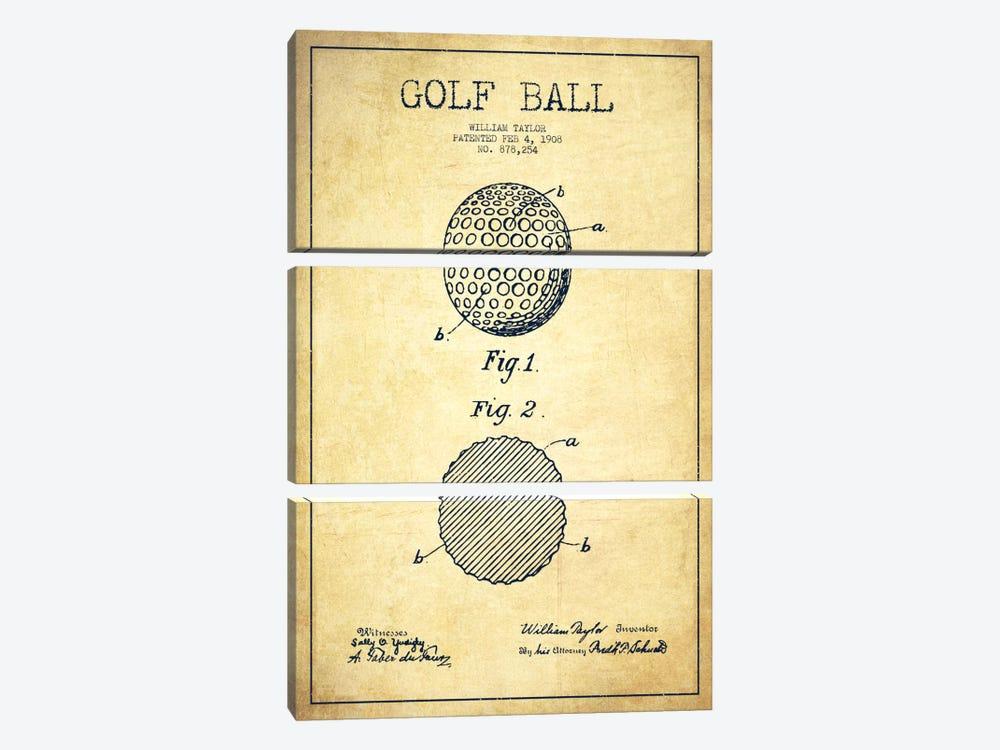 Golf Ball Vintage Patent Blueprint by Aged Pixel 3-piece Canvas Artwork