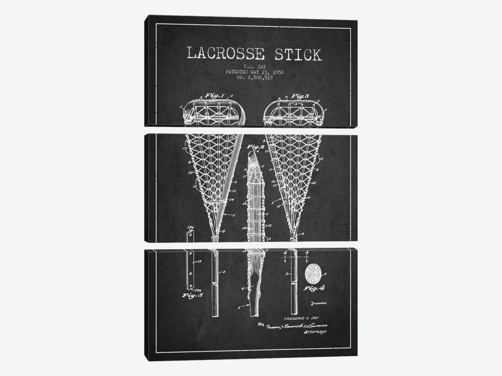 Lacrosse Stick Charcoal Patent Blueprint by Aged Pixel 3-piece Canvas Art