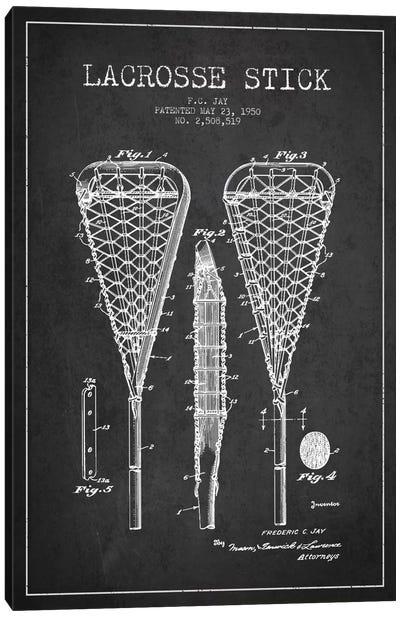 Lacrosse Stick Charcoal Patent Blueprint Canvas Art Print