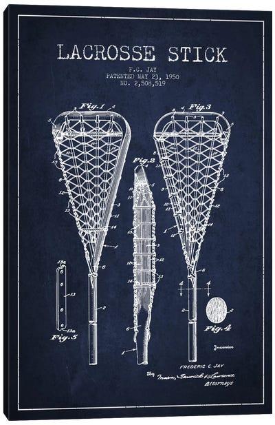 Lacrosse Stick Navy Blue Patent Blueprint Canvas Print #ADP2192