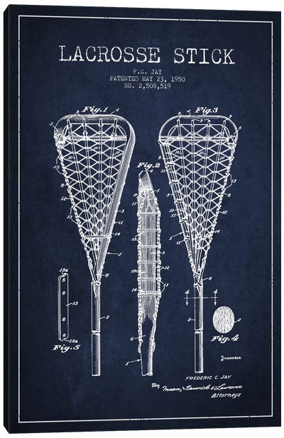 Lacrosse Stick Navy Blue Patent Blueprint Canvas Art Print