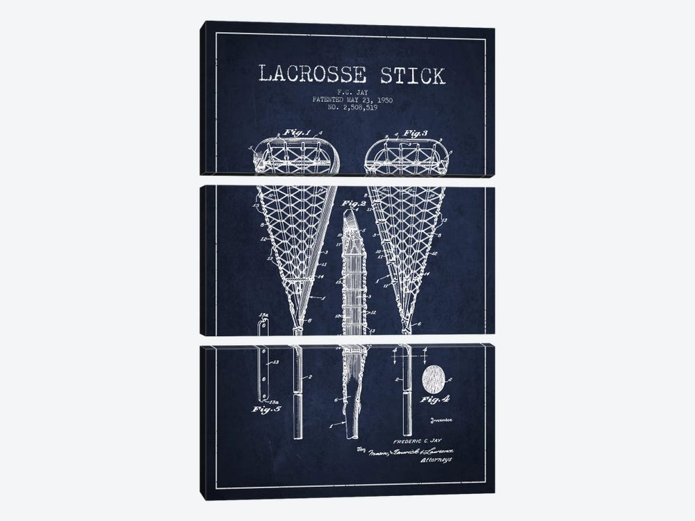 Lacrosse Stick Navy Blue Patent Blueprint by Aged Pixel 3-piece Canvas Art
