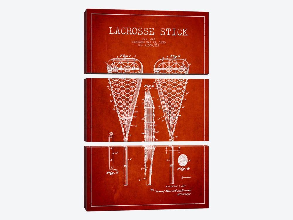 Lacrosse Stick Red Patent Blueprint by Aged Pixel 3-piece Canvas Print