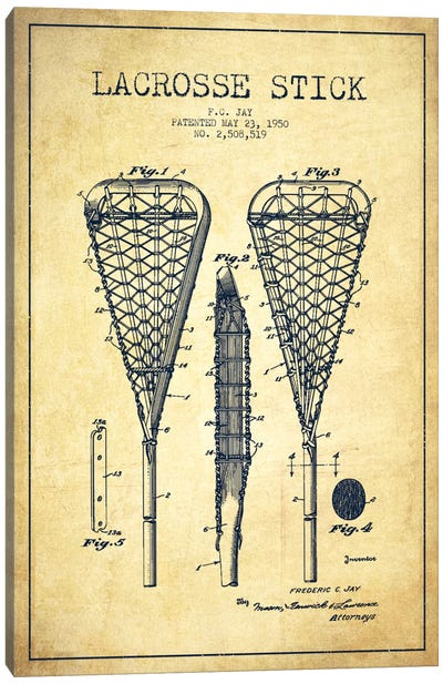 Lacrosse Stick Vintage Patent Blueprint Canvas Art Print