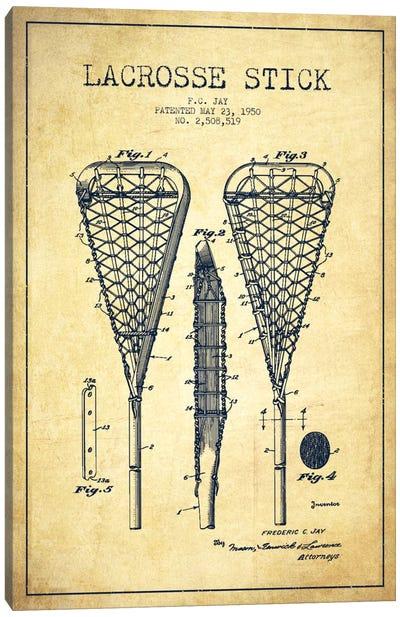 Lacrosse Stick Vintage Patent Blueprint Canvas Art Print
