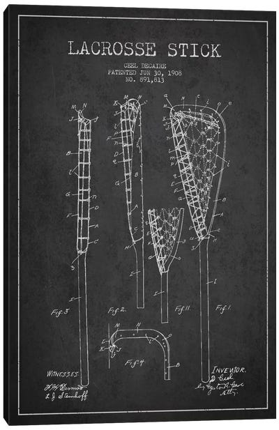 Lacrosse Stick Charcoal Patent Blueprint Canvas Print #ADP2195