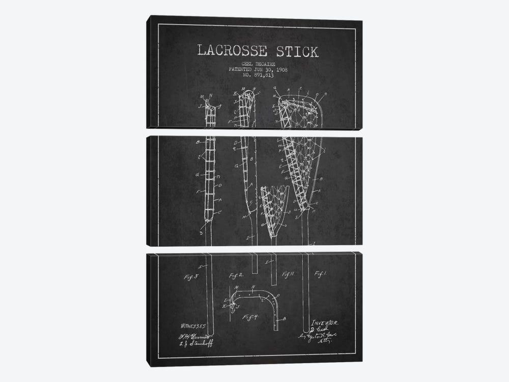 Lacrosse Stick Charcoal Patent Blueprint by Aged Pixel 3-piece Canvas Print