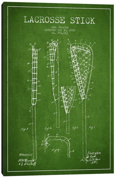 Lacrosse Stick Green Patent Blueprint Canvas Print #ADP2196