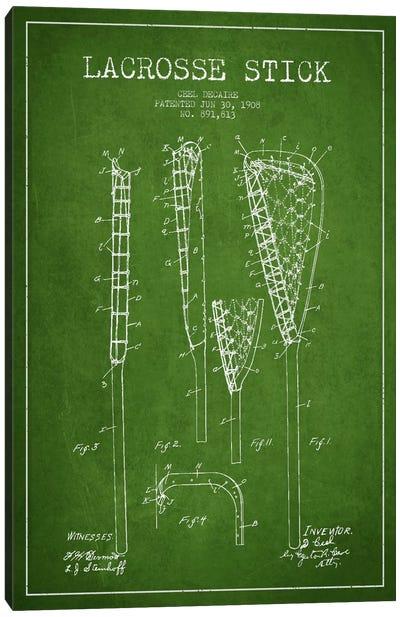 Lacrosse Stick Green Patent Blueprint Canvas Print #ADP2196