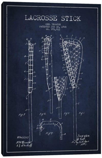 Lacrosse Stick Navy Blue Patent Blueprint Canvas Print #ADP2197