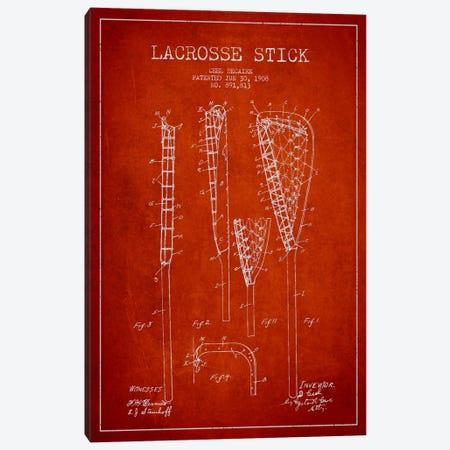 Lacrosse Stick Red Patent Blueprint Canvas Print #ADP2198} by Aged Pixel Canvas Art