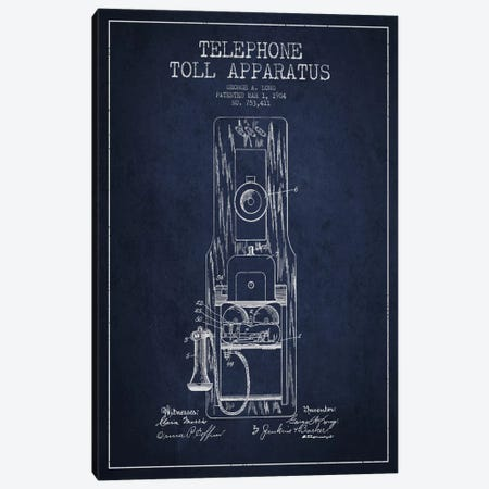Long Telephone Toll Blue Patent Blueprint Canvas Print #ADP21} by Aged Pixel Canvas Artwork