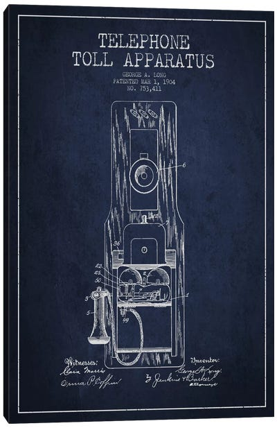 Long Telephone Toll Blue Patent Blueprint Canvas Art Print