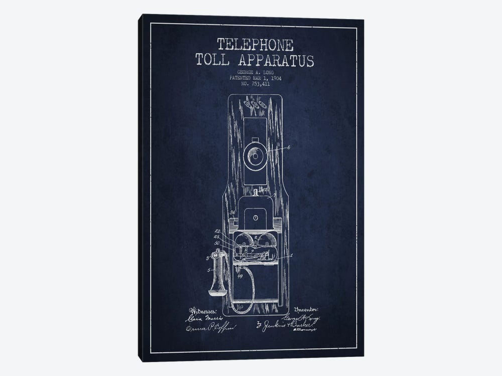 Long Telephone Toll Blue Patent Blueprint by Aged Pixel 1-piece Canvas Wall Art