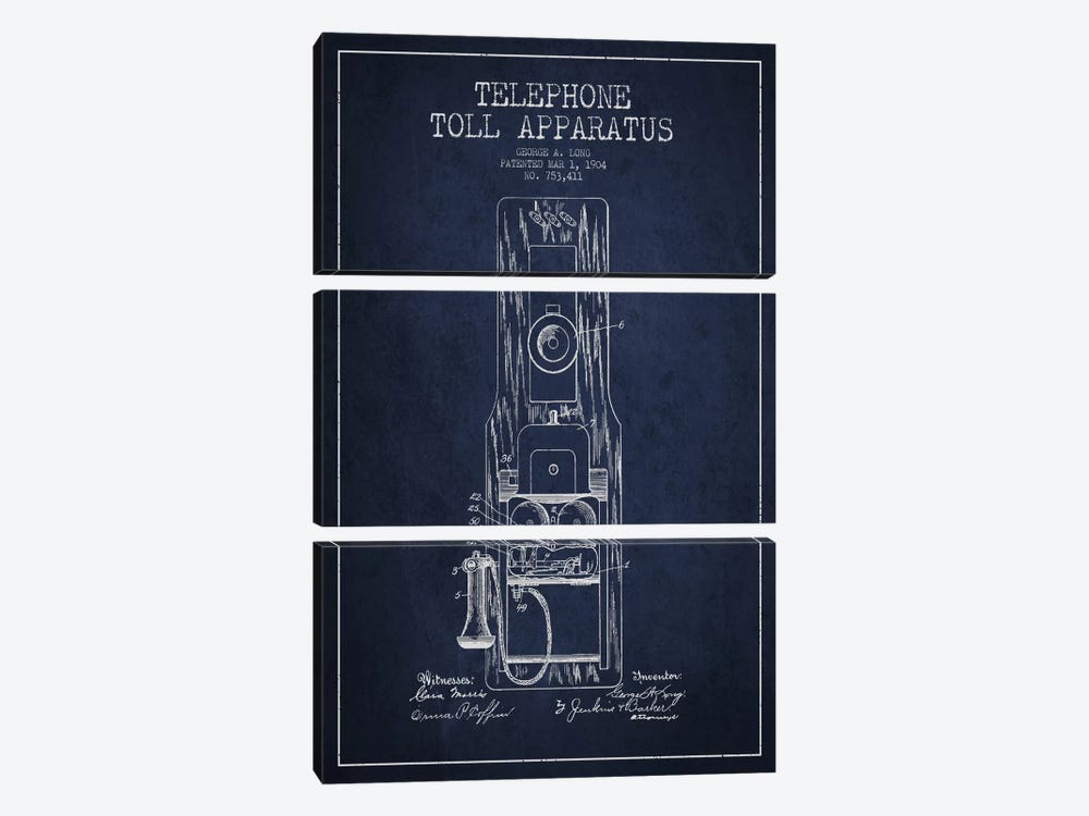 Long Telephone Toll Blue Patent Blueprint by Aged Pixel 3-piece Canvas Artwork