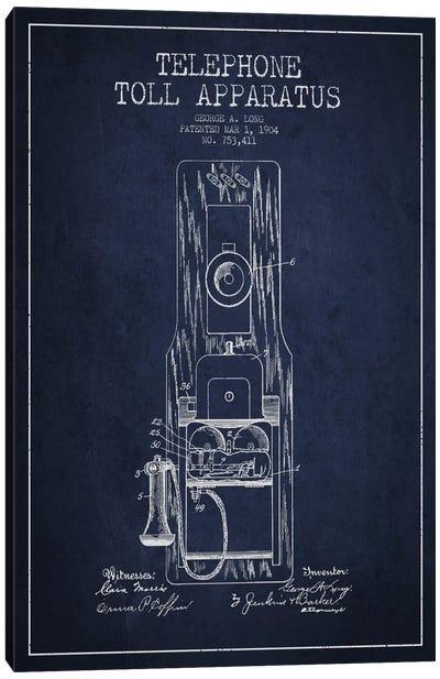 Long Telephone Toll Blue Patent Blueprint Canvas Art Print