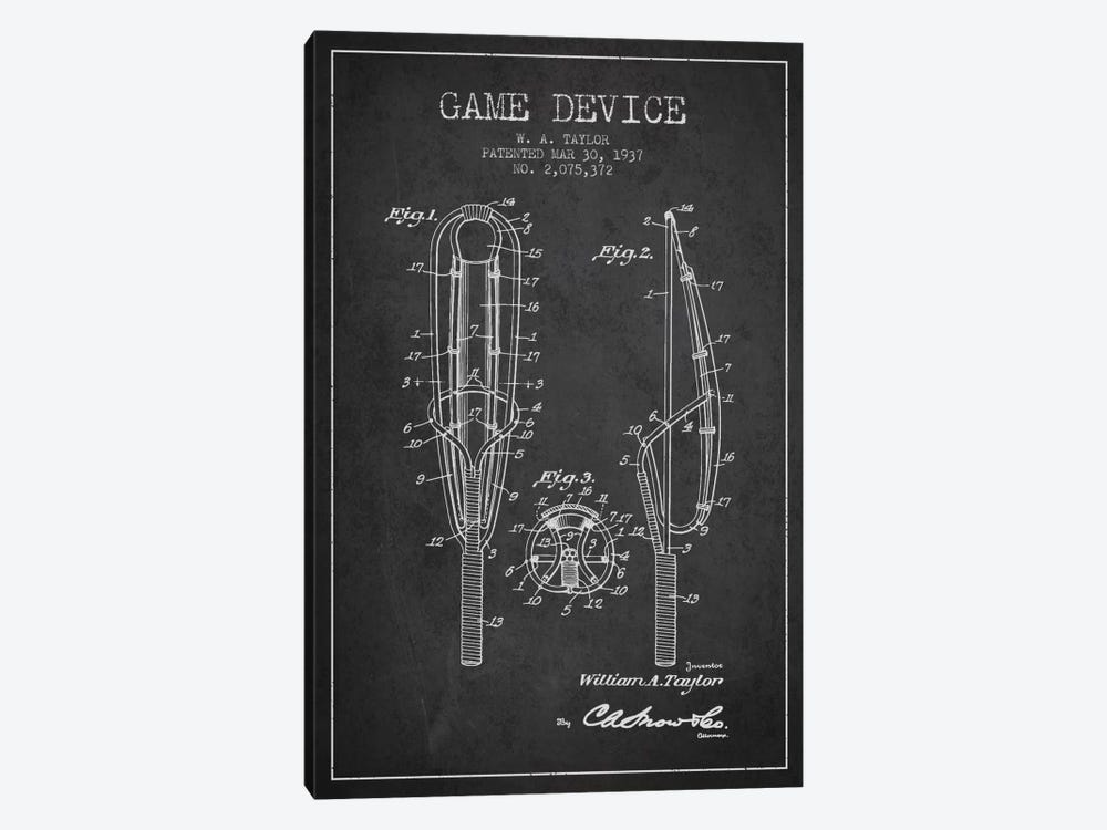 Game Device Charcoal Patent Blueprint by Aged Pixel 1-piece Canvas Art Print