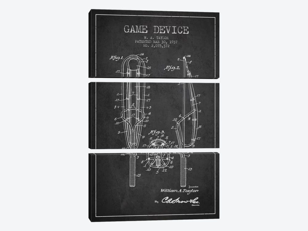Game Device Charcoal Patent Blueprint by Aged Pixel 3-piece Canvas Art Print