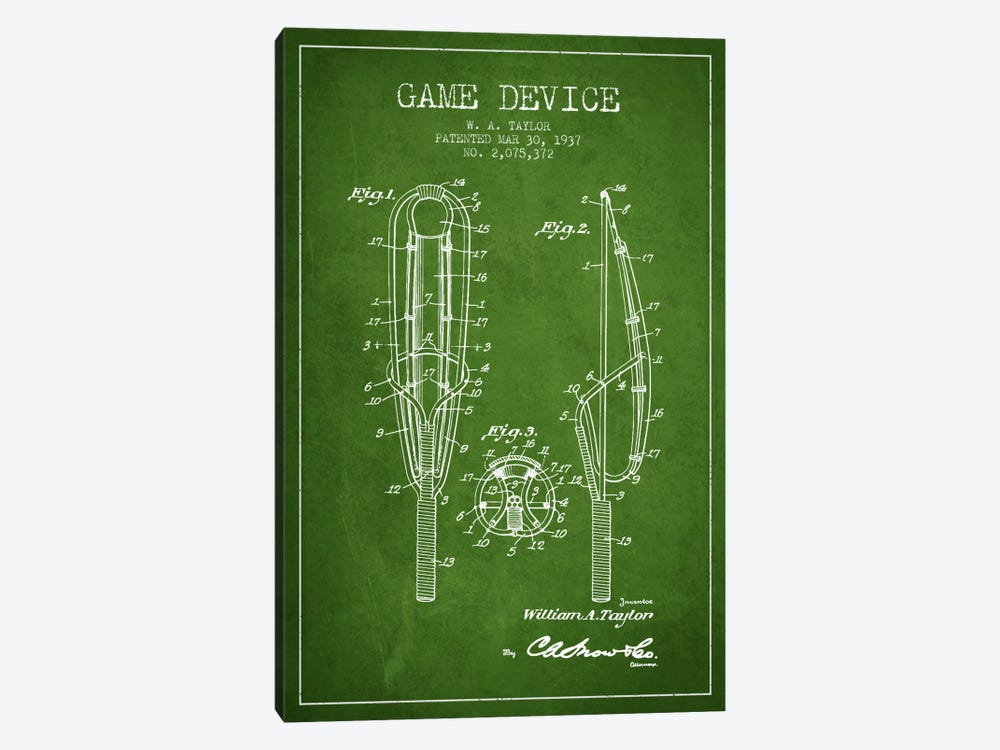 Game Device Green Patent Blueprint by Aged Pixel 1-piece Canvas Artwork