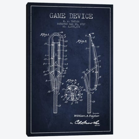 Game Device Navy Blue Patent Blueprint Canvas Print #ADP2202} by Aged Pixel Canvas Wall Art