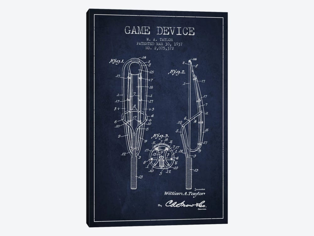 Game Device Navy Blue Patent Blueprint by Aged Pixel 1-piece Canvas Print