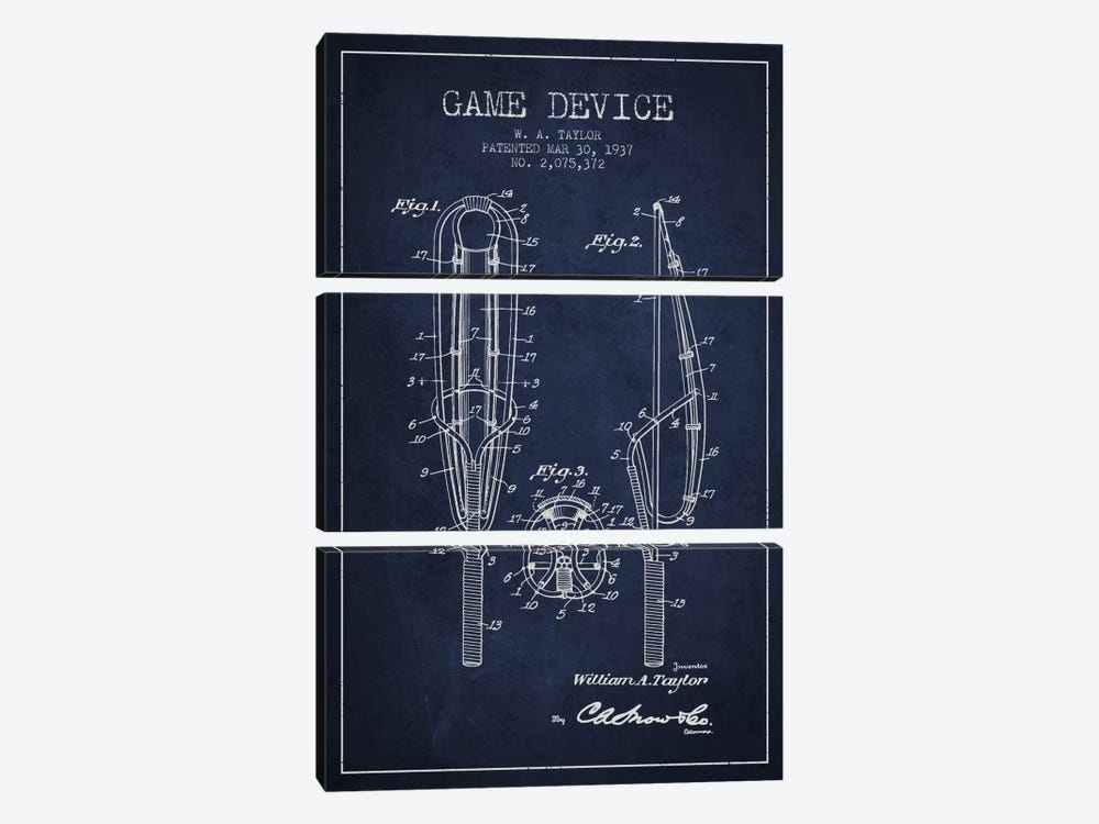 Game Device Navy Blue Patent Blueprint by Aged Pixel 3-piece Art Print
