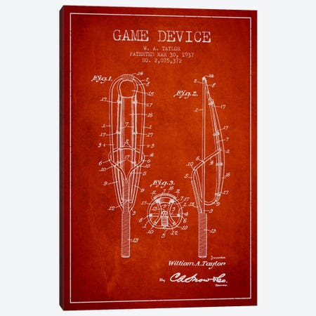 Game Device Red Patent Blueprint Canvas Print #ADP2203} by Aged Pixel Canvas Artwork