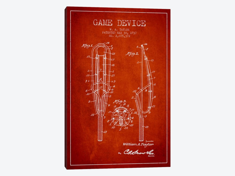 Game Device Red Patent Blueprint by Aged Pixel 1-piece Canvas Art