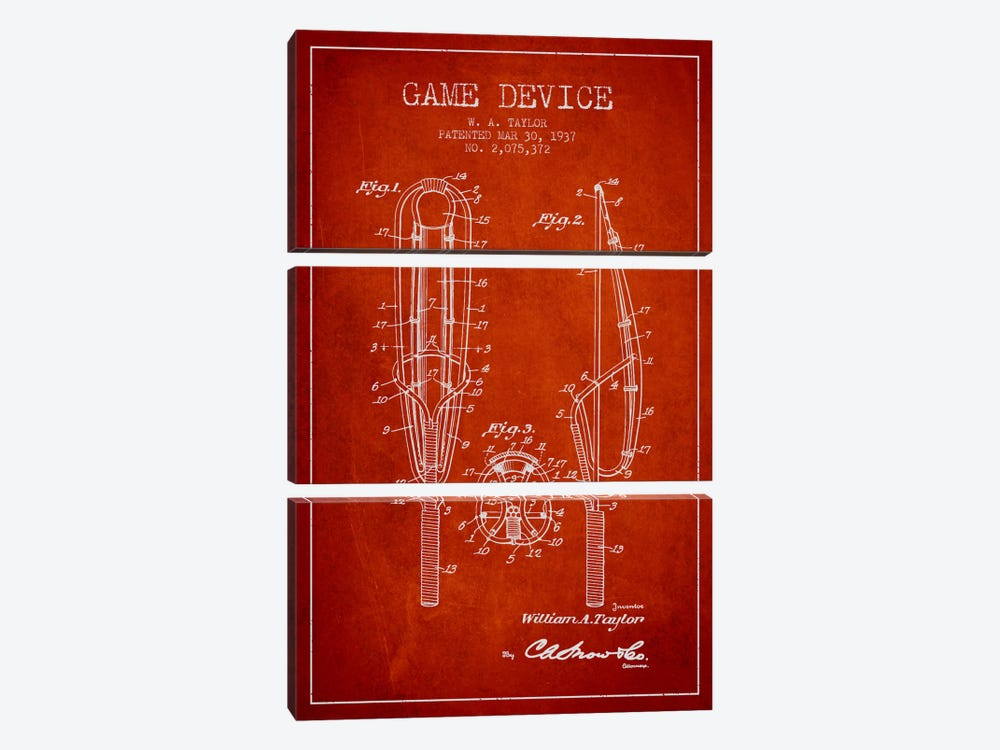 Game Device Red Patent Blueprint by Aged Pixel 3-piece Canvas Artwork