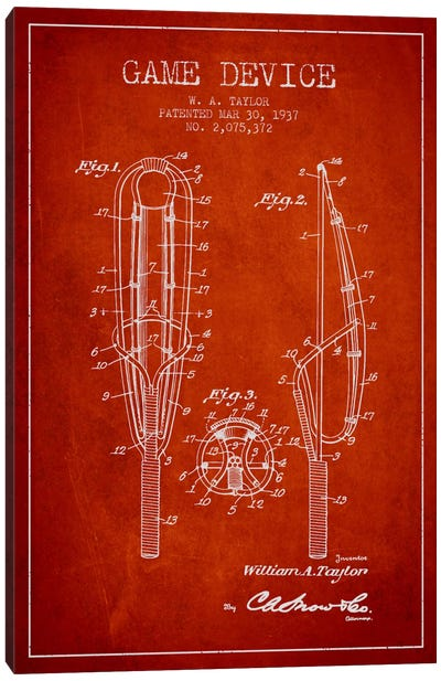 Game Device Red Patent Blueprint Canvas Art Print