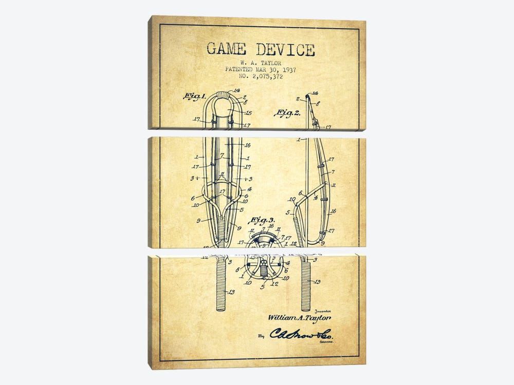 Game Device Vintage Patent Blueprint by Aged Pixel 3-piece Canvas Print