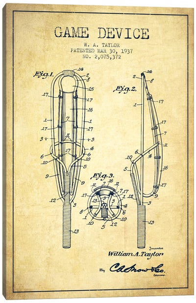 Game Device Vintage Patent Blueprint Canvas Art Print