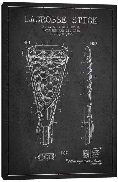 Lacrosse Stick Charcoal Patent Blueprint Canvas Print #ADP2205