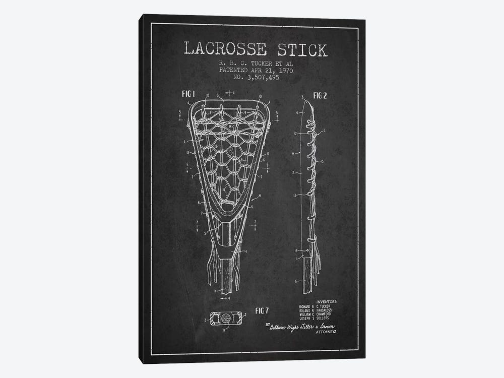 Lacrosse Stick Charcoal Patent Blueprint by Aged Pixel 1-piece Canvas Artwork