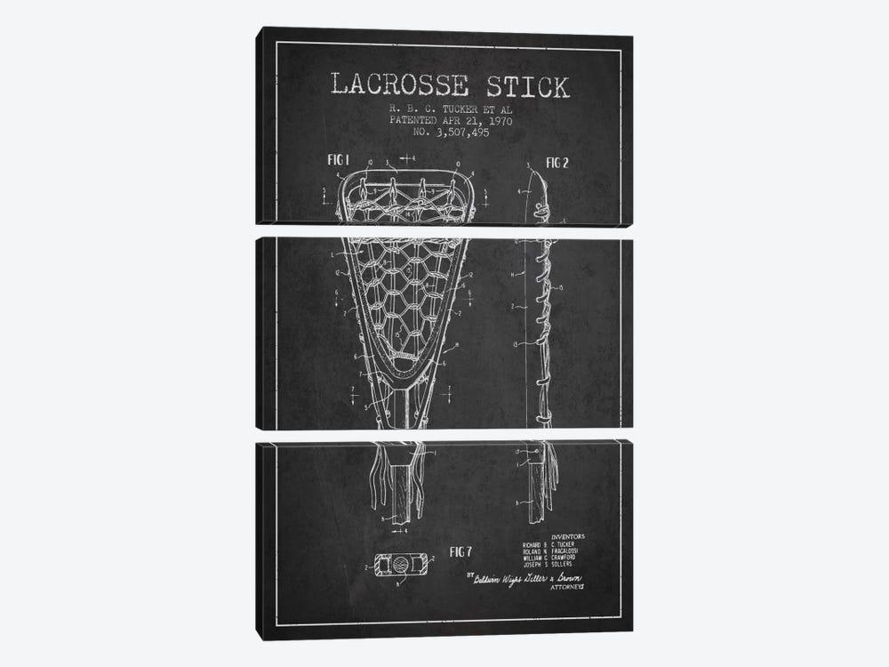 Lacrosse Stick Charcoal Patent Blueprint by Aged Pixel 3-piece Canvas Artwork