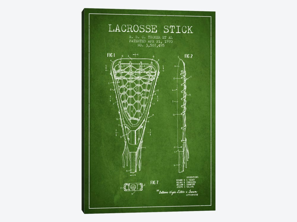 Lacrosse Stick Green Patent Blueprint by Aged Pixel 1-piece Canvas Art Print