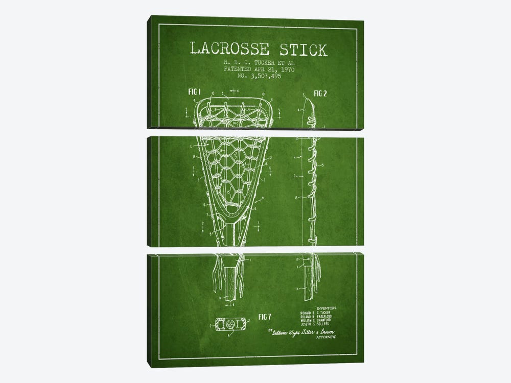 Lacrosse Stick Green Patent Blueprint by Aged Pixel 3-piece Canvas Print
