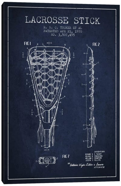 Lacrosse Stick Navy Blue Patent Blueprint Canvas Print #ADP2207
